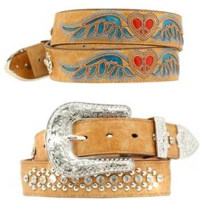 NWT Nocona Bling & Heart and Wing Inlay Belt